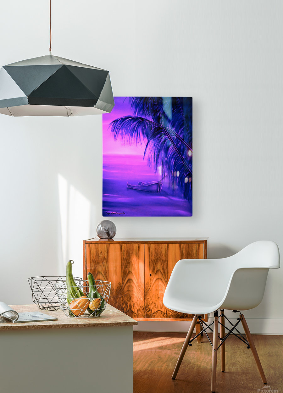 Boat At Sunset  HD Metal print with Floating Frame on Back