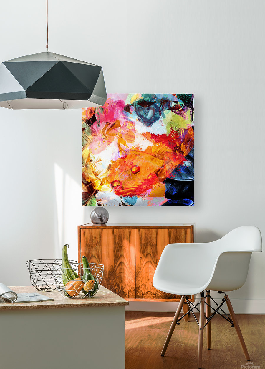 Golden Flame  HD Metal print with Floating Frame on Back