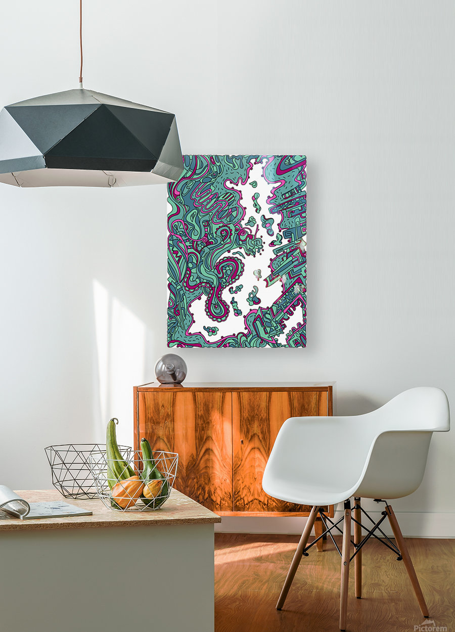 Wandering Abstract Line Art 20: Green  HD Metal print with Floating Frame on Back