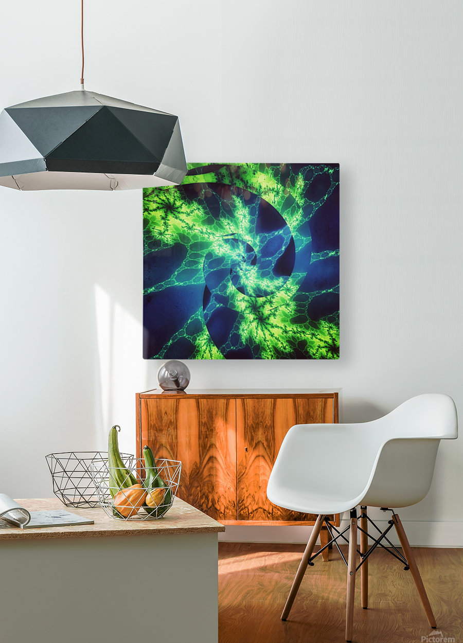Neurospiral  HD Metal print with Floating Frame on Back