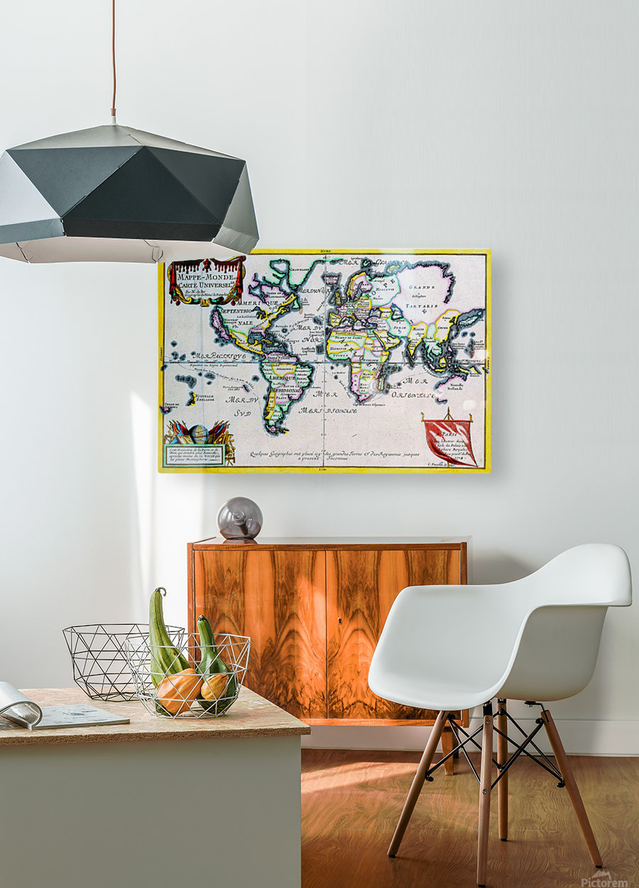 Ancient World Map 4  HD Metal print with Floating Frame on Back