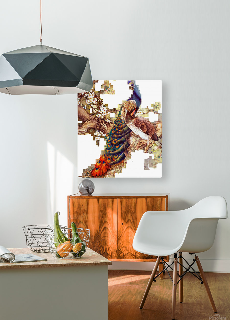 china peafowl glass feather peacock  HD Metal print with Floating Frame on Back