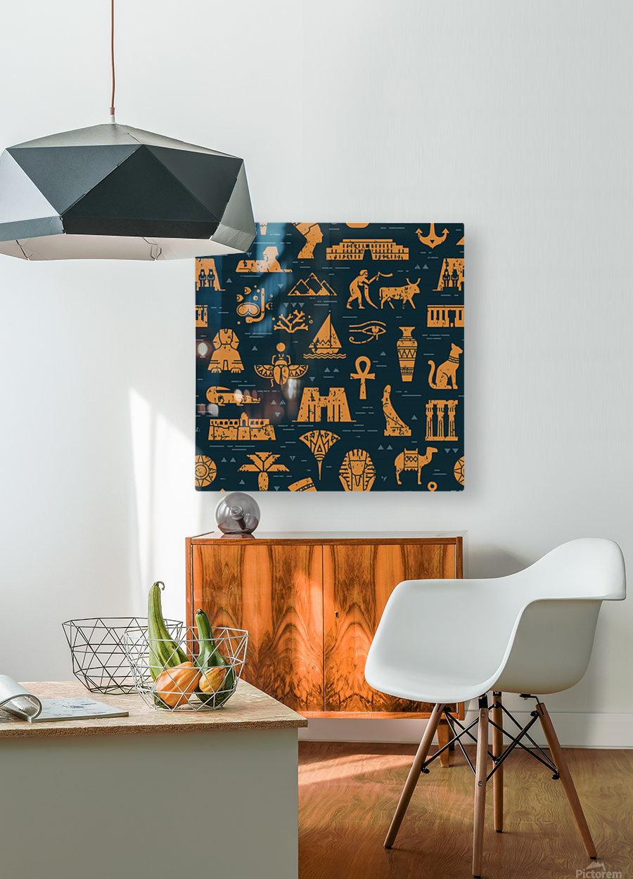 dark seamless pattern symbols landmarks signs egypt  HD Metal print with Floating Frame on Back