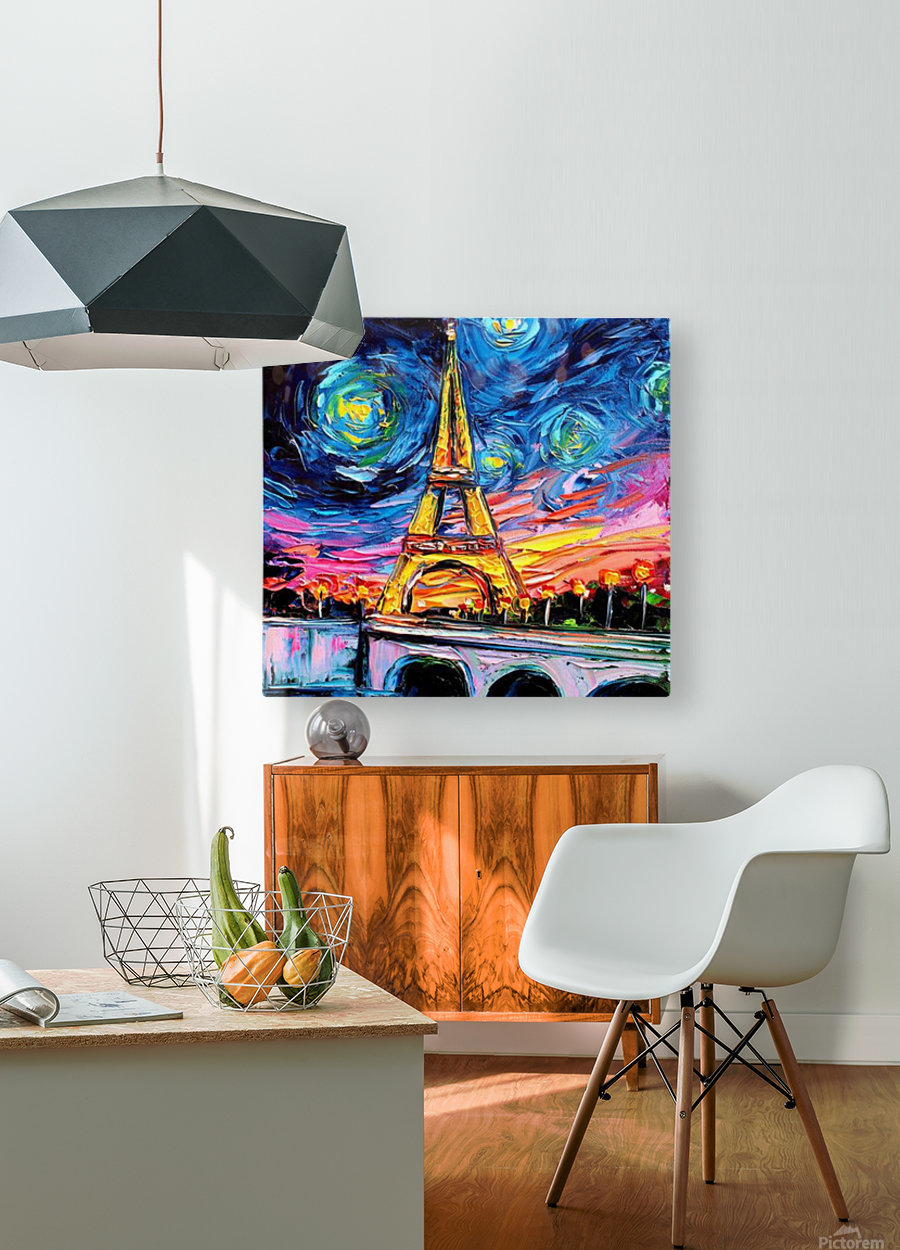 Eiffel Tower Starry Night print van Gogh  HD Metal print with Floating Frame on Back