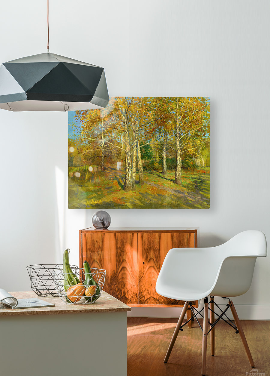 Birch_Trees_In_Tsaritsyno  HD Metal print with Floating Frame on Back