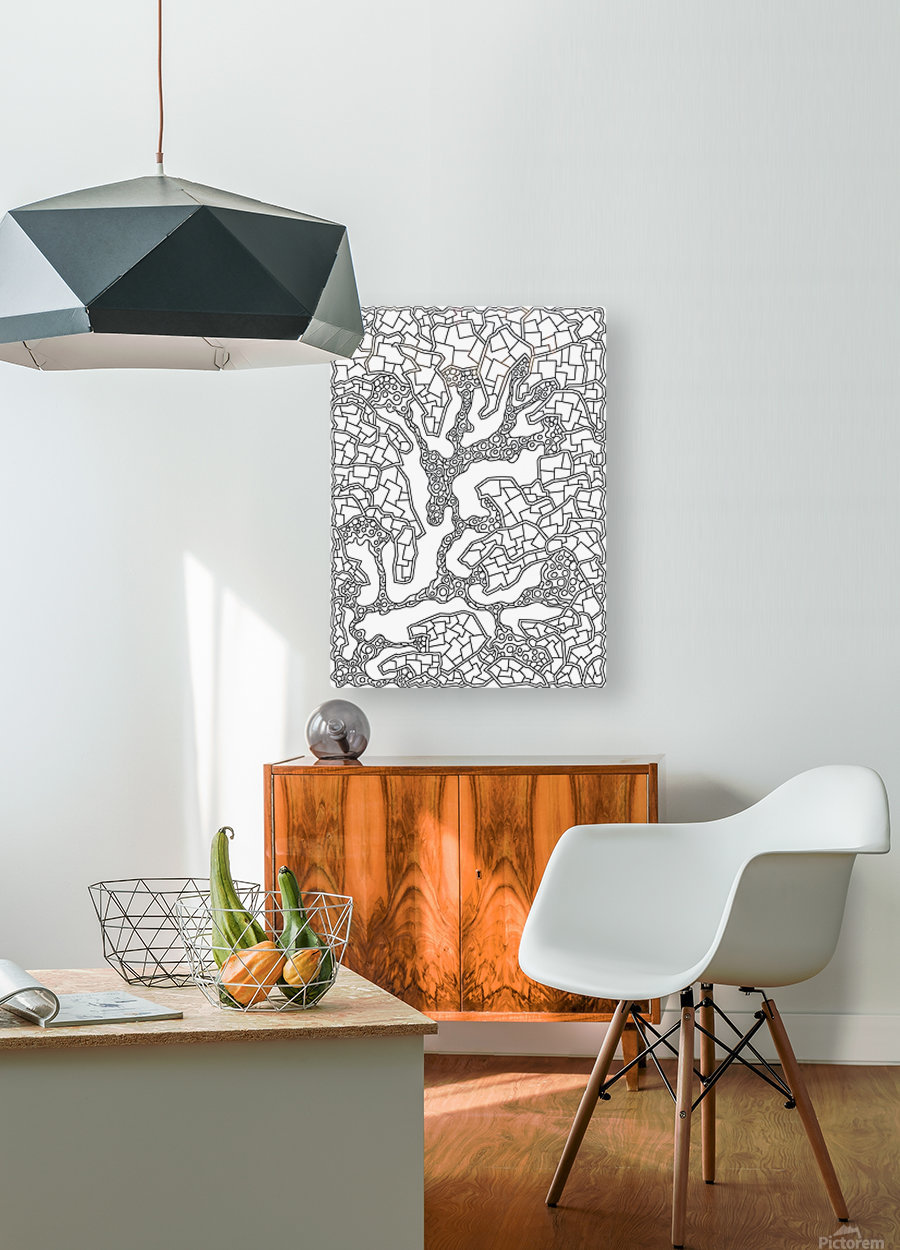 Wandering Abstract Line Art 40: Black & White  HD Metal print with Floating Frame on Back