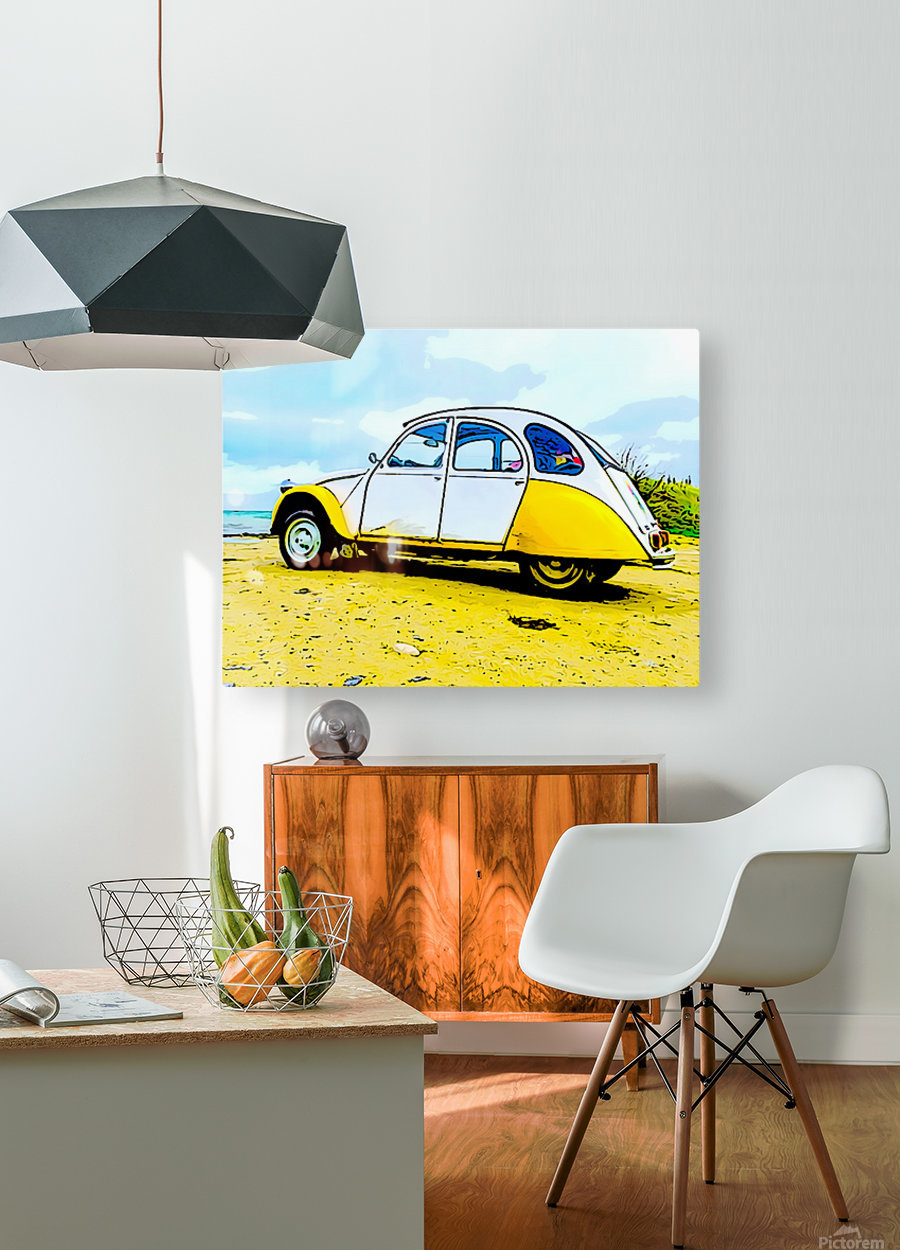 Beach Car  HD Metal print with Floating Frame on Back
