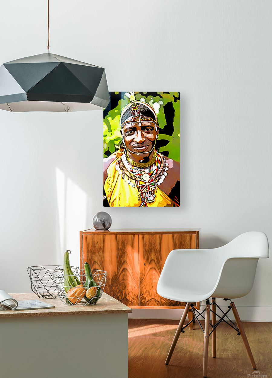 African  HD Metal print with Floating Frame on Back