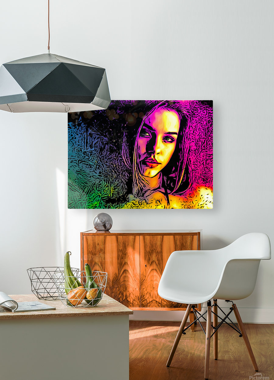 MultiColor Girl  HD Metal print with Floating Frame on Back