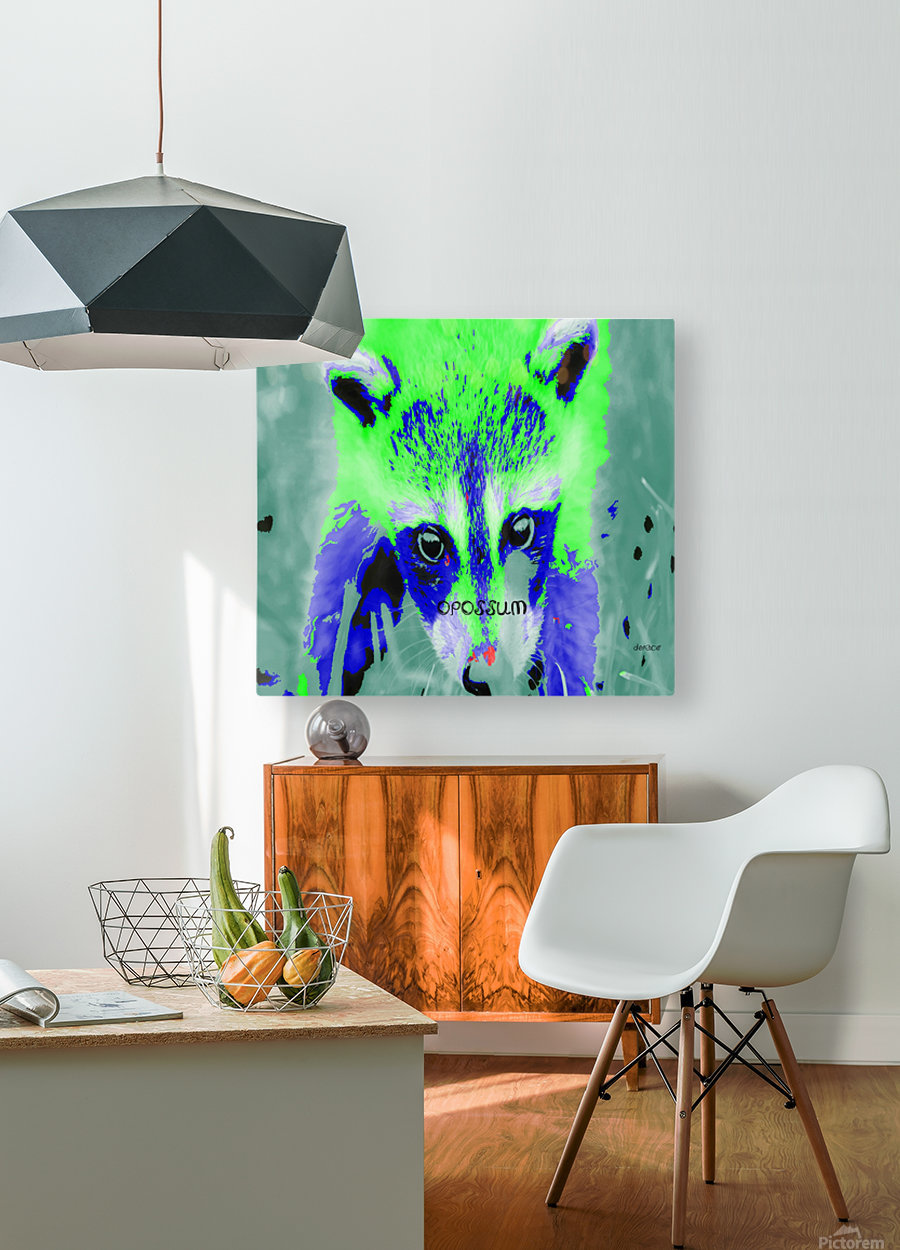 abstract Opossum  HD Metal print with Floating Frame on Back