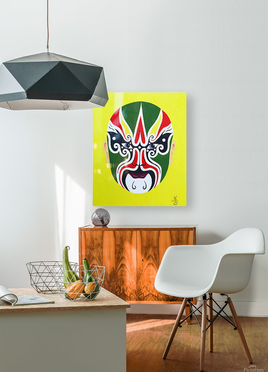 Cheng Yaojin - Chinese Opera Mask  HD Metal print with Floating Frame on Back