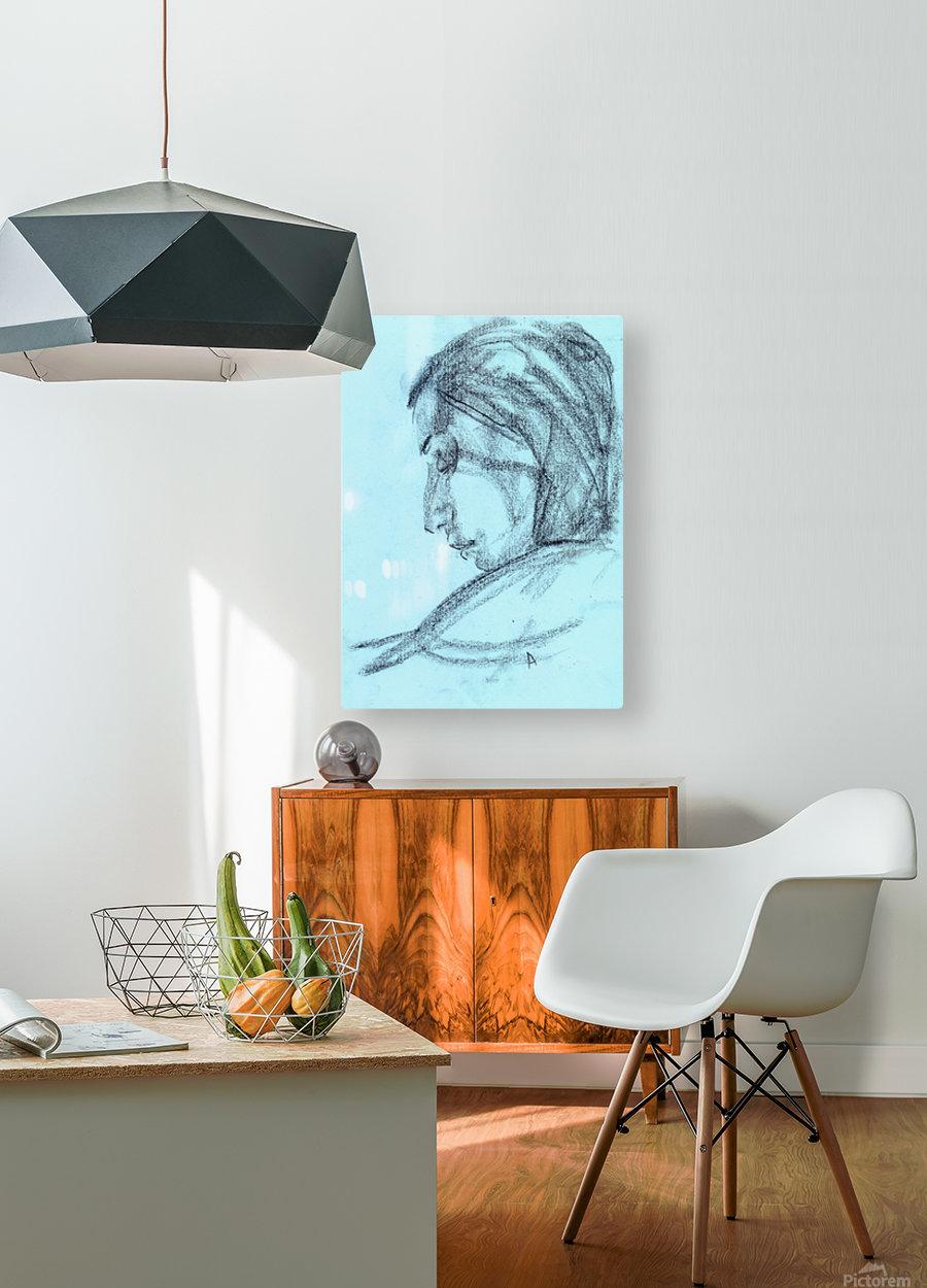 Lite blue  HD Metal print with Floating Frame on Back
