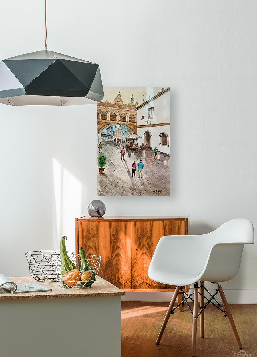 Cofee Lane_DKS  Impression métal HD avec cadre flottant sur le dos
