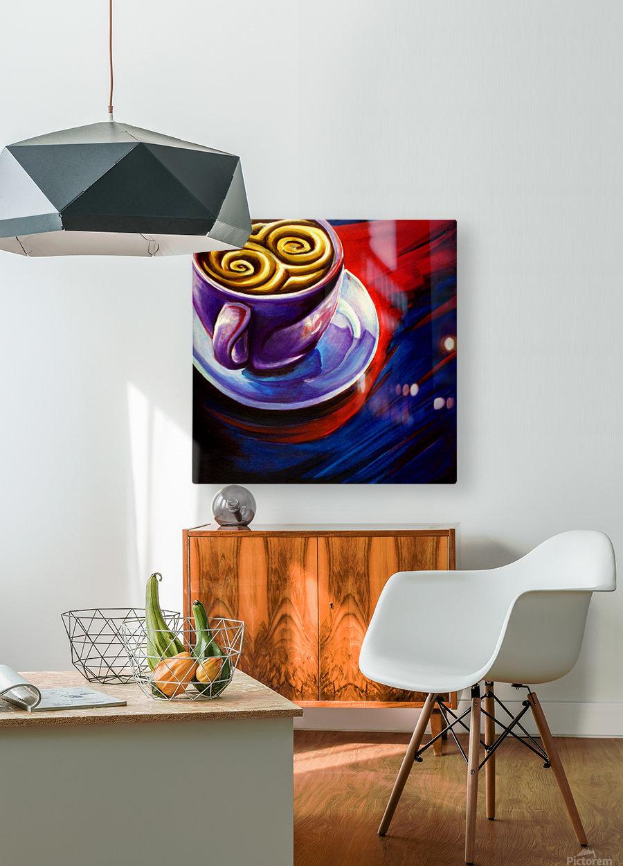 Coffee  Impression métal HD avec cadre flottant sur le dos