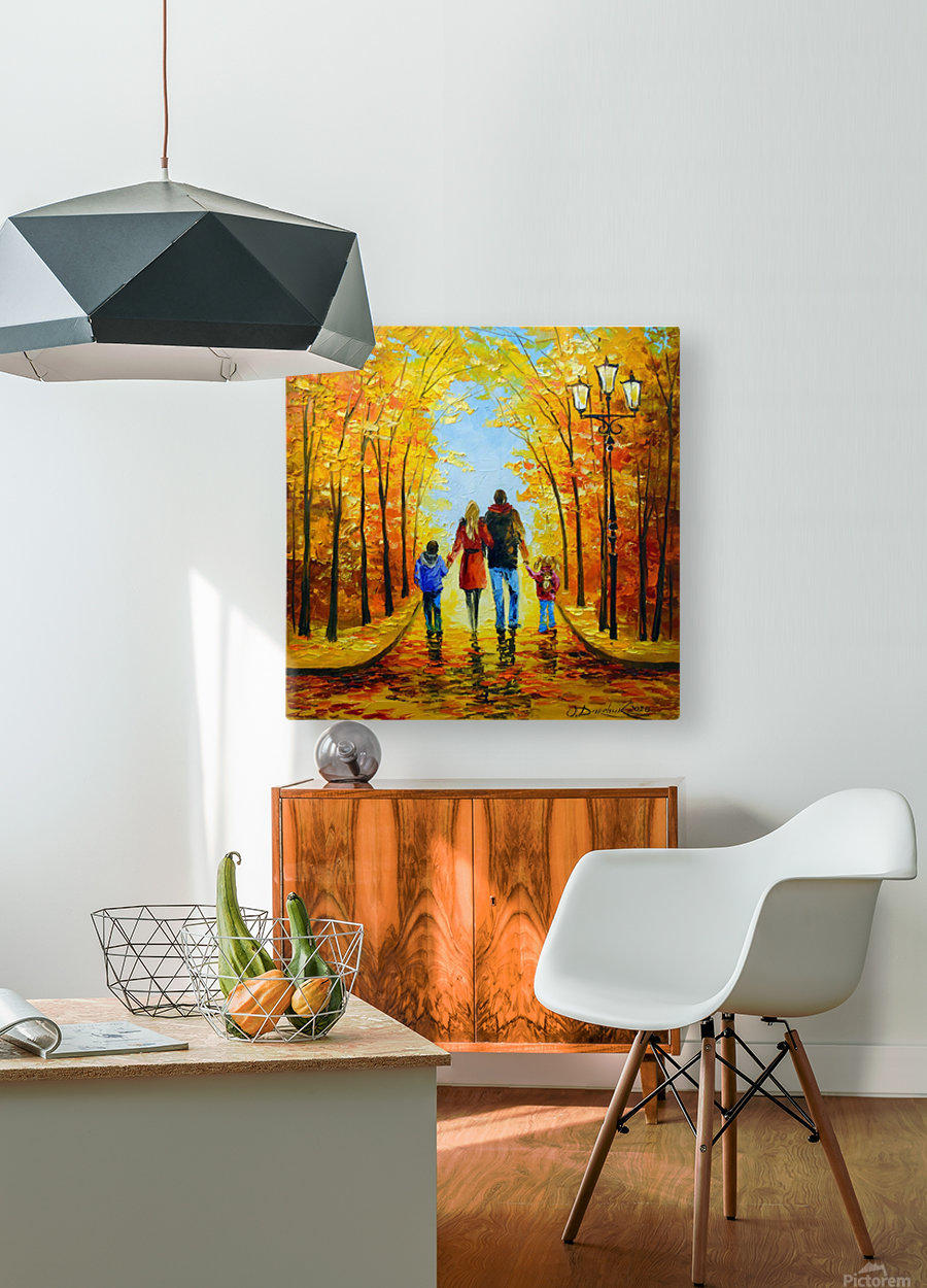 Walk with the whole family in the autumn Park  HD Metal print with Floating Frame on Back