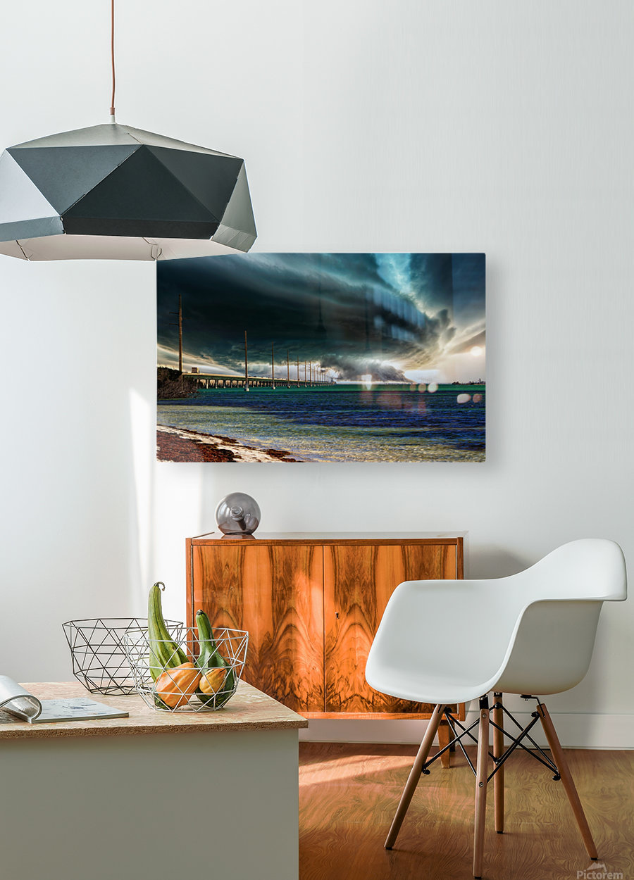 Storm clouds over Bridge  HD Metal print with Floating Frame on Back