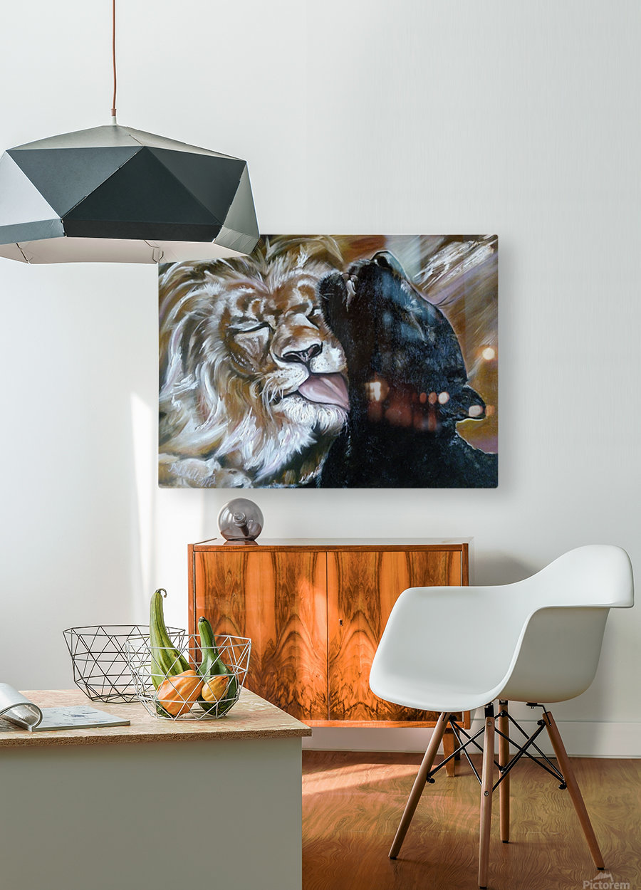 The Lion and the Panther  HD Metal print with Floating Frame on Back