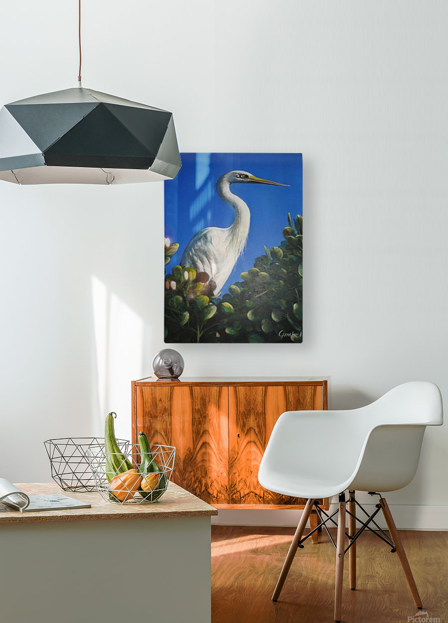 White Heron 1  HD Metal print with Floating Frame on Back