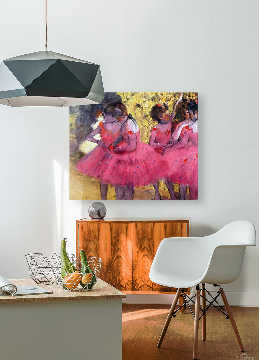 Dancers in pink between the scenes by Degas  HD Metal print with Floating Frame on Back