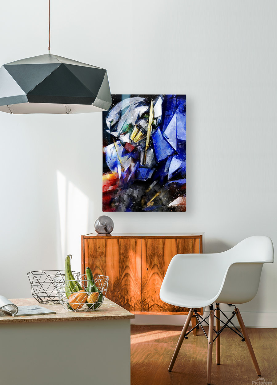 Gundam  HD Metal print with Floating Frame on Back