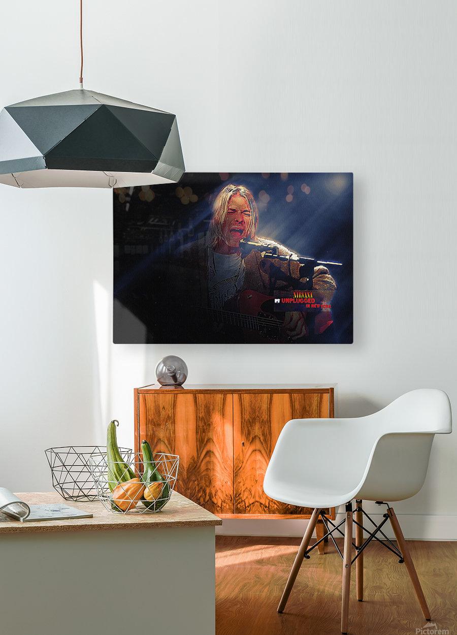Kurt Cobain Live MTV Unplugged  HD Metal print with Floating Frame on Back