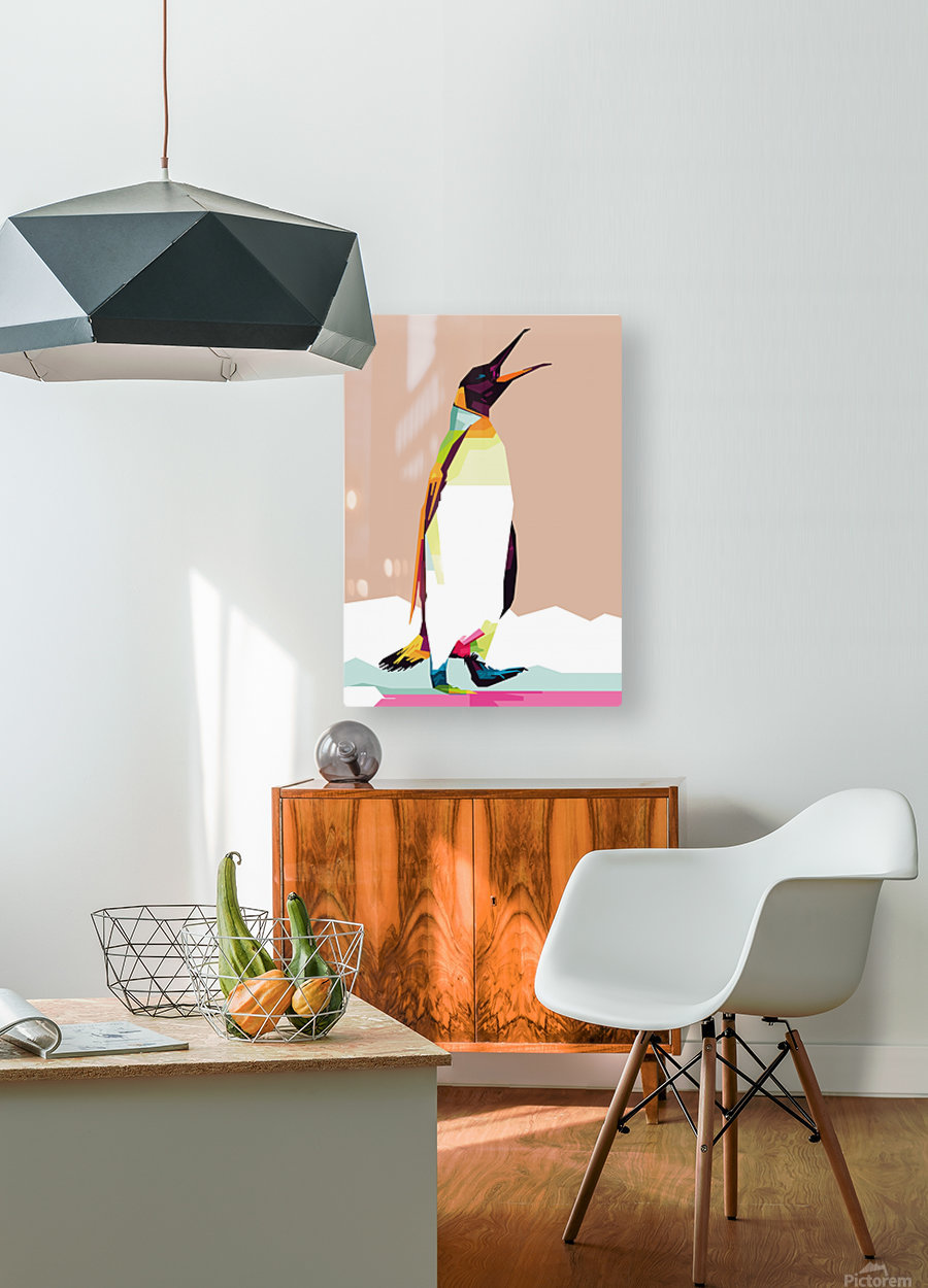 Penguin  HD Metal print with Floating Frame on Back