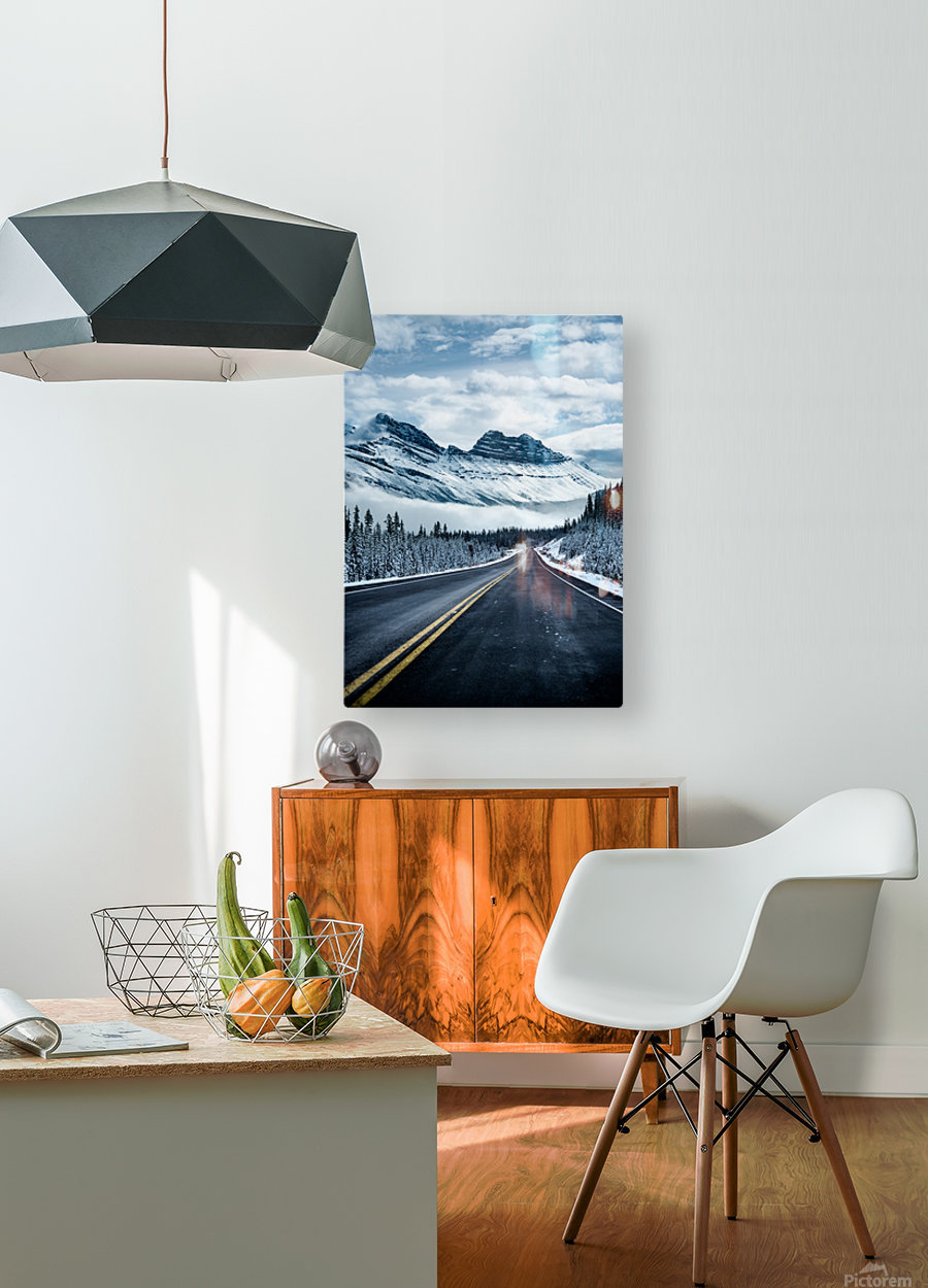 Icy Roads  HD Metal print with Floating Frame on Back