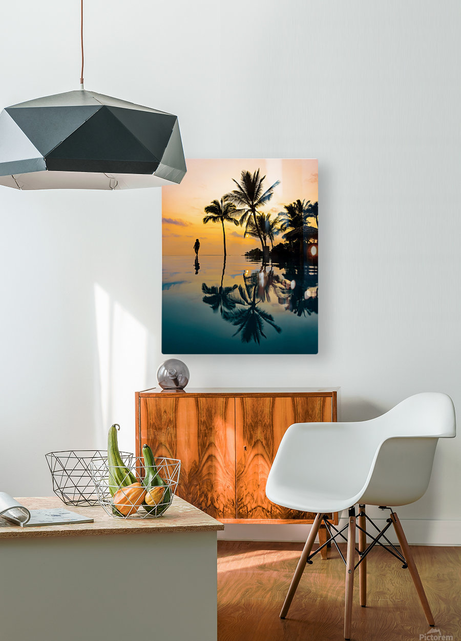 Relaxation Sunset  HD Metal print with Floating Frame on Back