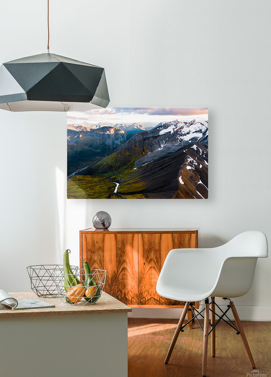 Mountains and Valleys  HD Metal print with Floating Frame on Back