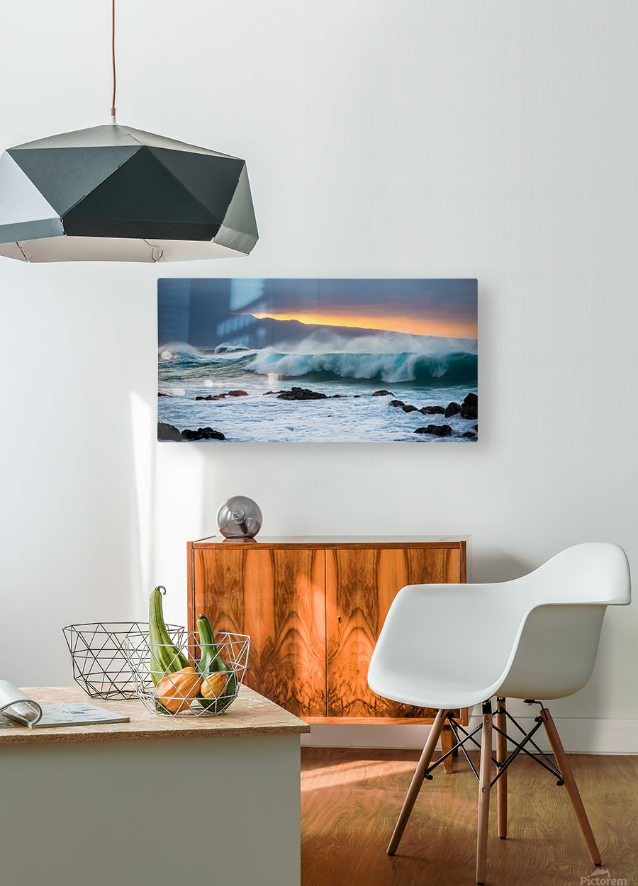 Mountains and Waves  HD Metal print with Floating Frame on Back