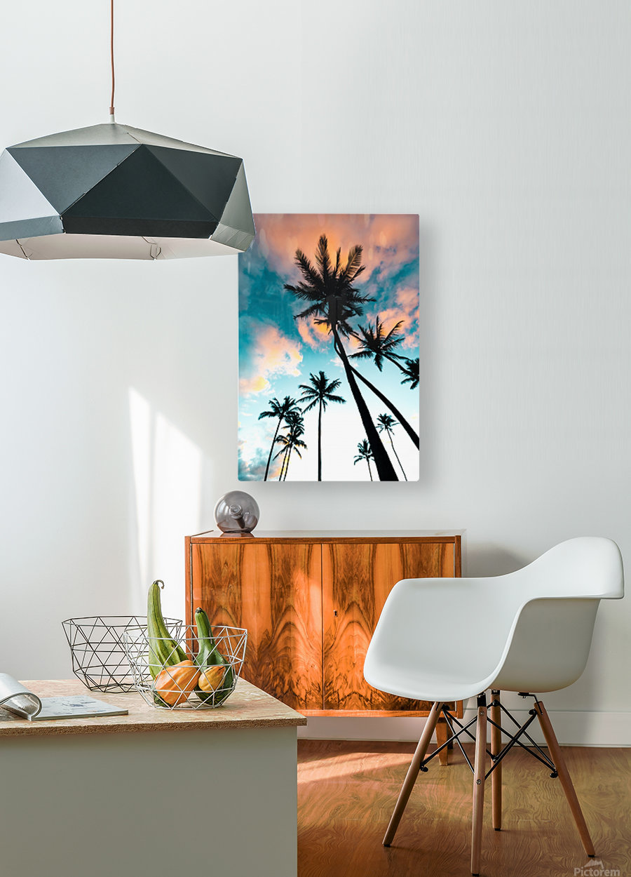 Palm Tree Sunrise  HD Metal print with Floating Frame on Back