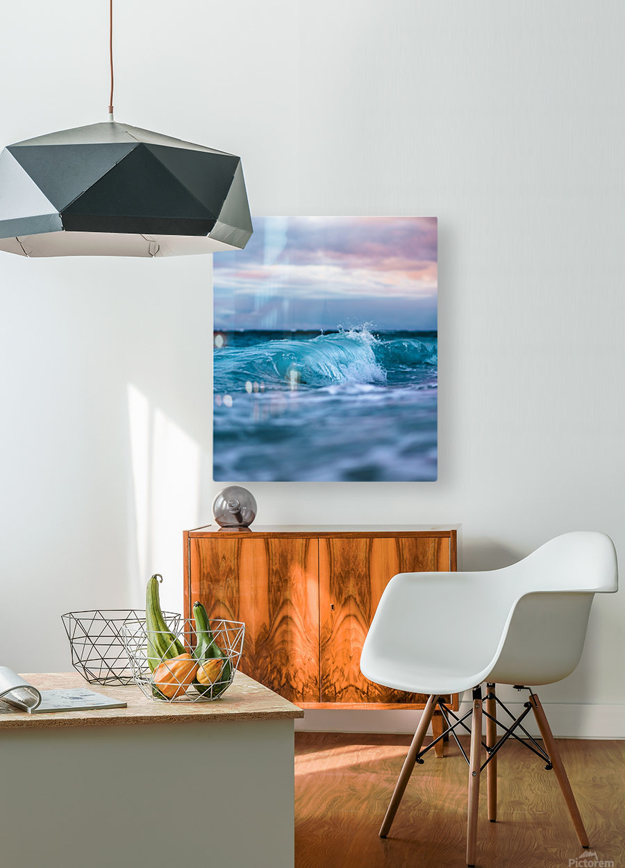 Blue Waves  HD Metal print with Floating Frame on Back