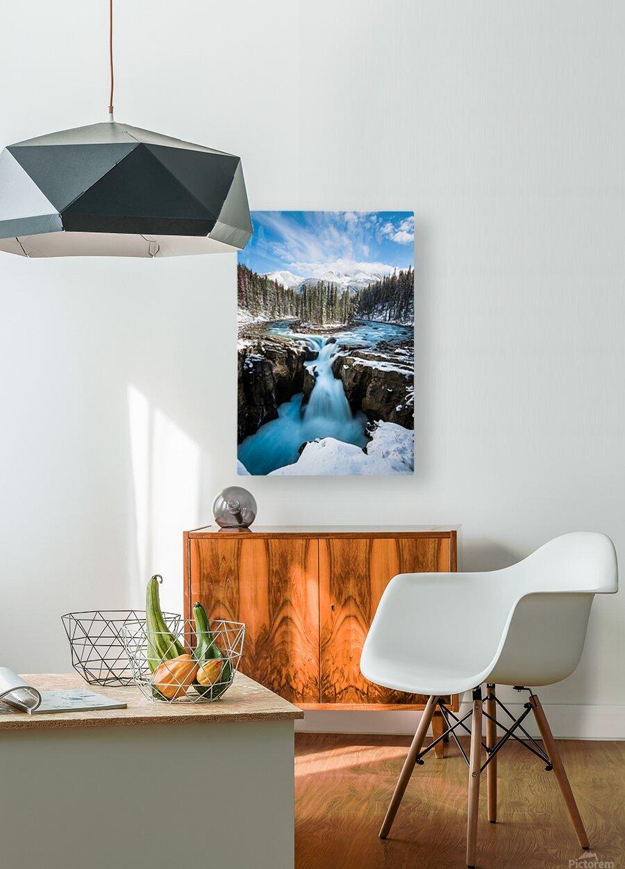 Snowy Sunwapta Falls  HD Metal print with Floating Frame on Back