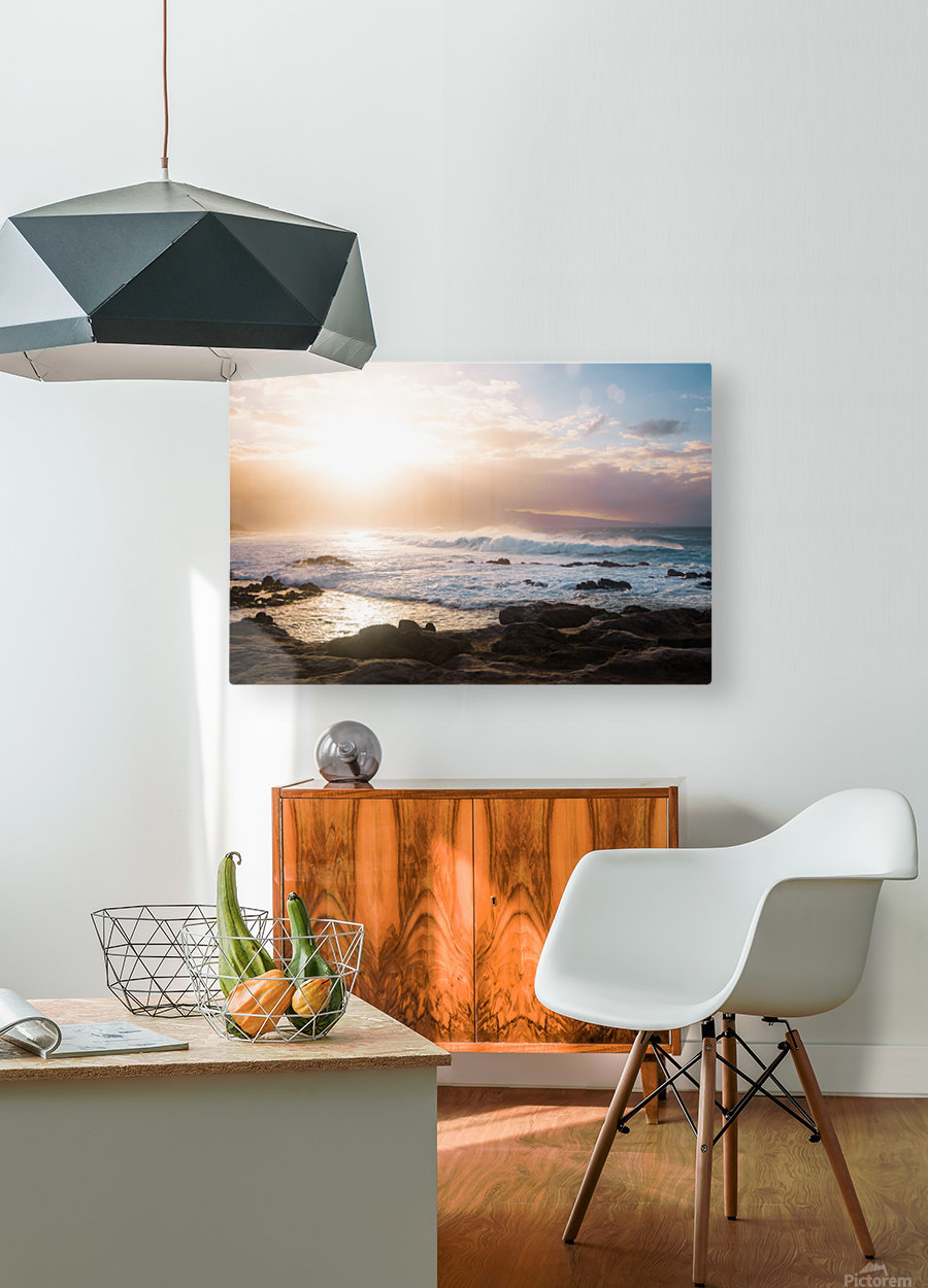 Colorful Waves  HD Metal print with Floating Frame on Back