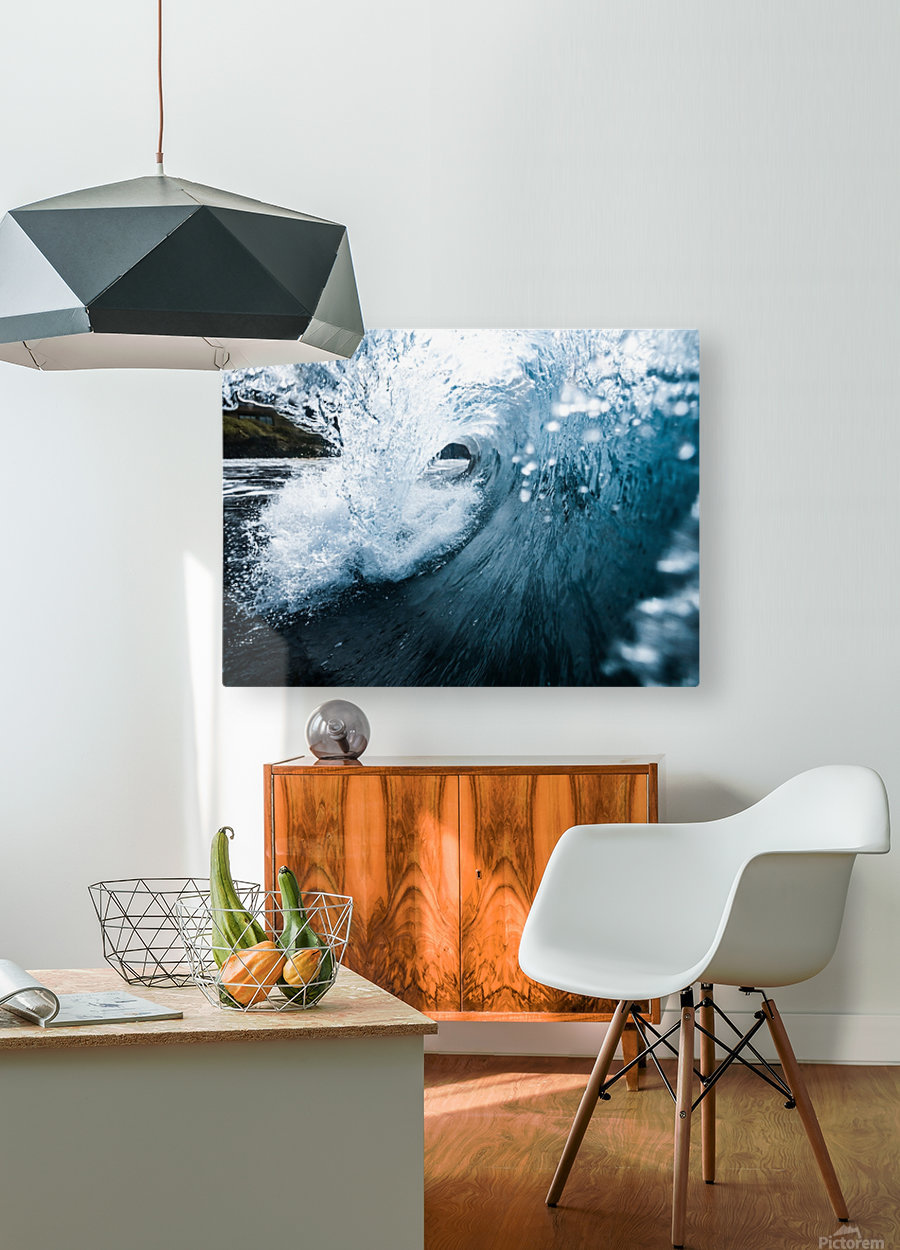 Blue Barrel  HD Metal print with Floating Frame on Back