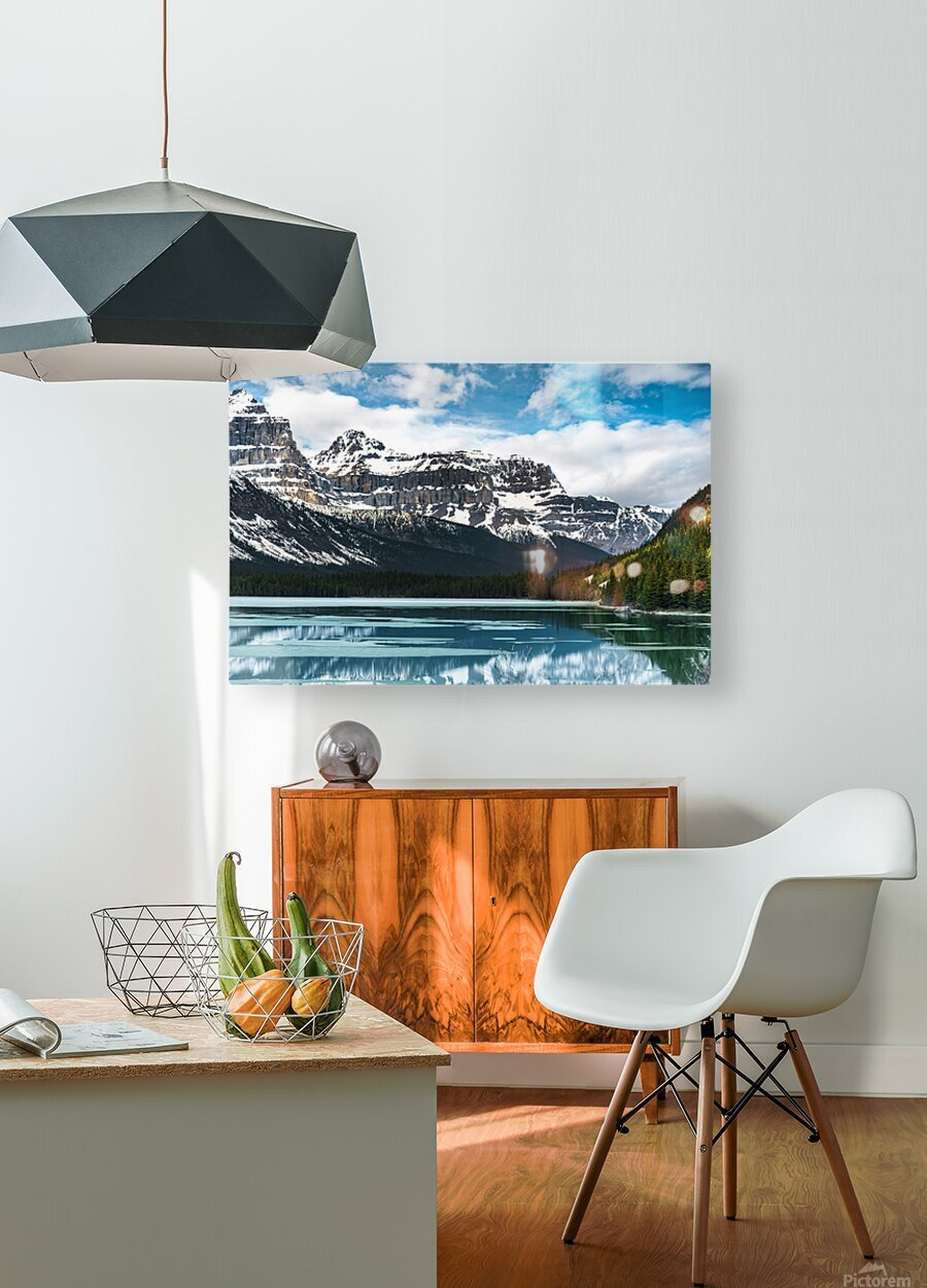 Winter Lake  HD Metal print with Floating Frame on Back