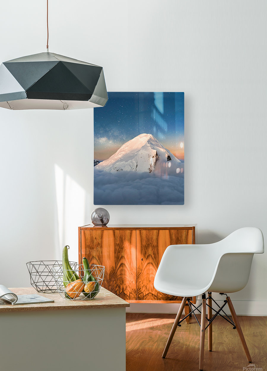 Starry Peak  HD Metal print with Floating Frame on Back