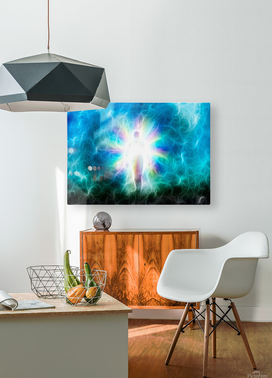 Figure Emerges from Light  HD Metal print with Floating Frame on Back