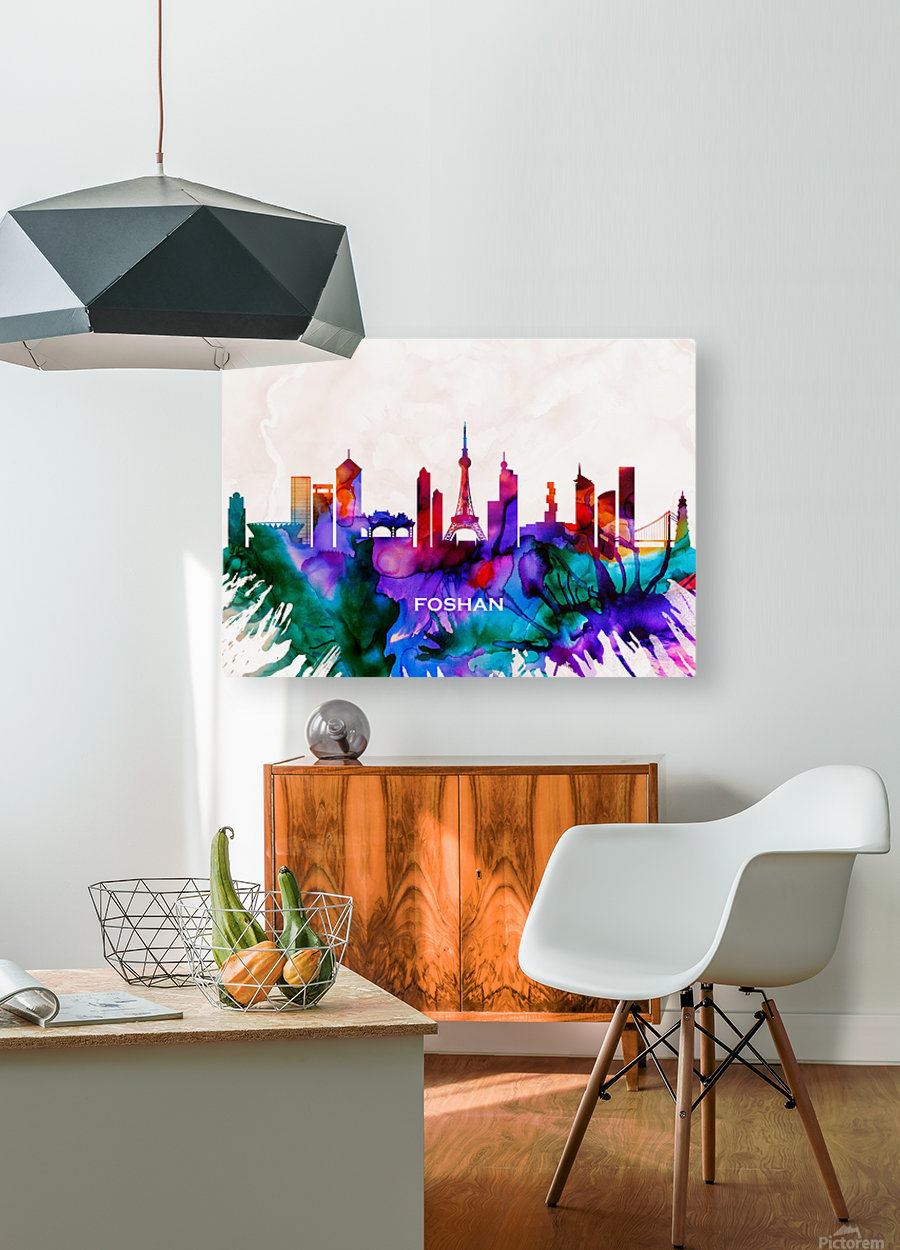 Foshan Skyline  HD Metal print with Floating Frame on Back