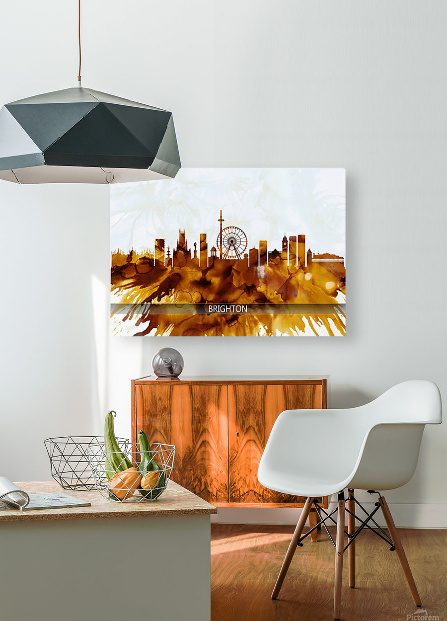 Brighton England Skyline  HD Metal print with Floating Frame on Back