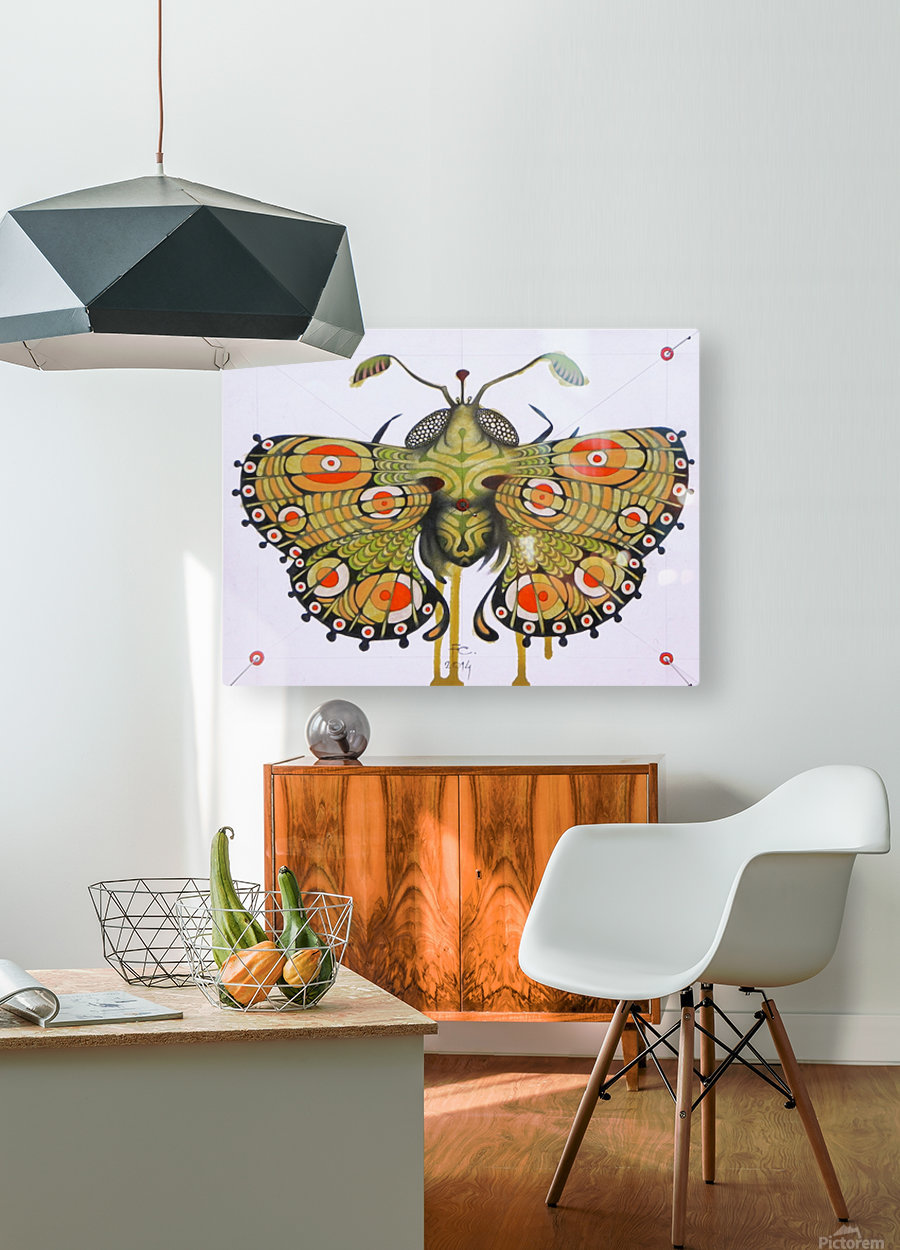 moth  HD Metal print with Floating Frame on Back