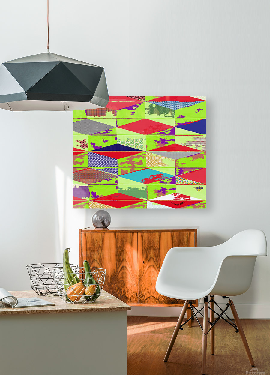 patchwork cubes by dePace  HD Metal print with Floating Frame on Back