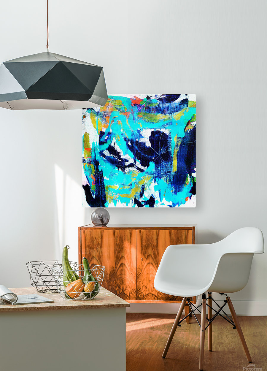 Abstract Ikat  HD Metal print with Floating Frame on Back