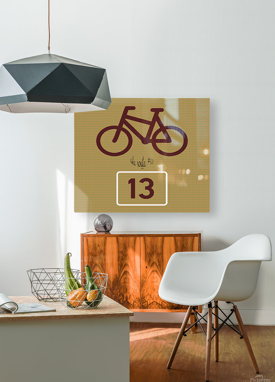 Bike Route number 13  HD Metal print with Floating Frame on Back