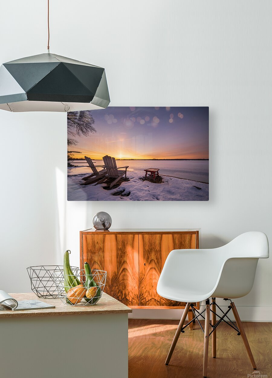 Morning by the Frozen River  HD Metal print with Floating Frame on Back
