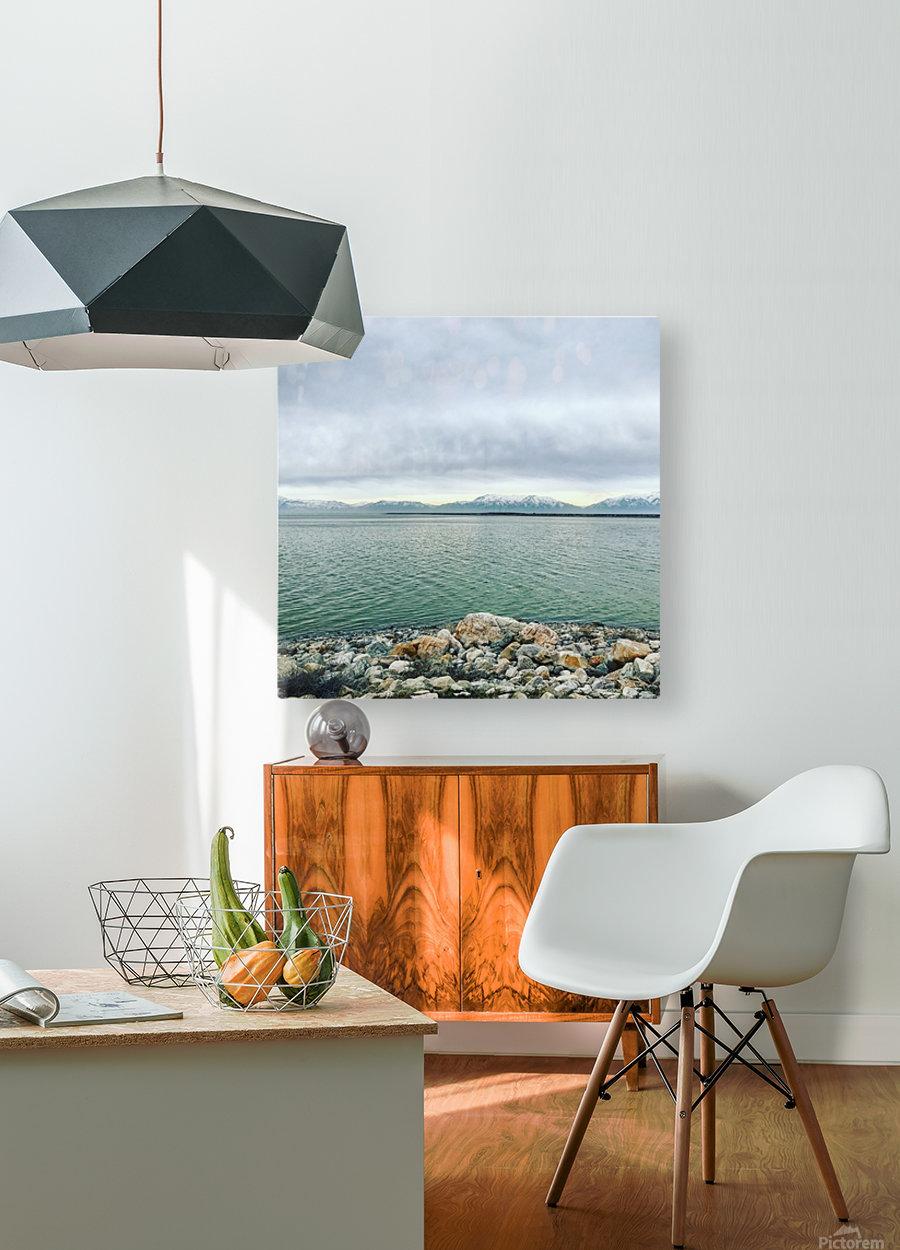 Great Salt Lake Shoreline  HD Metal print with Floating Frame on Back