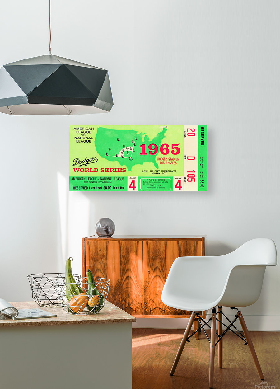 1965 World Series Ticket Stub Game 4  HD Metal print with Floating Frame on Back