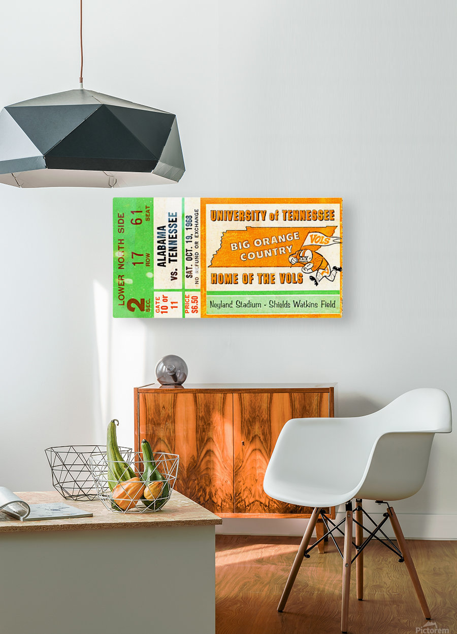 1968 Tennessee Vols Football Ticket Stub  HD Metal print with Floating Frame on Back
