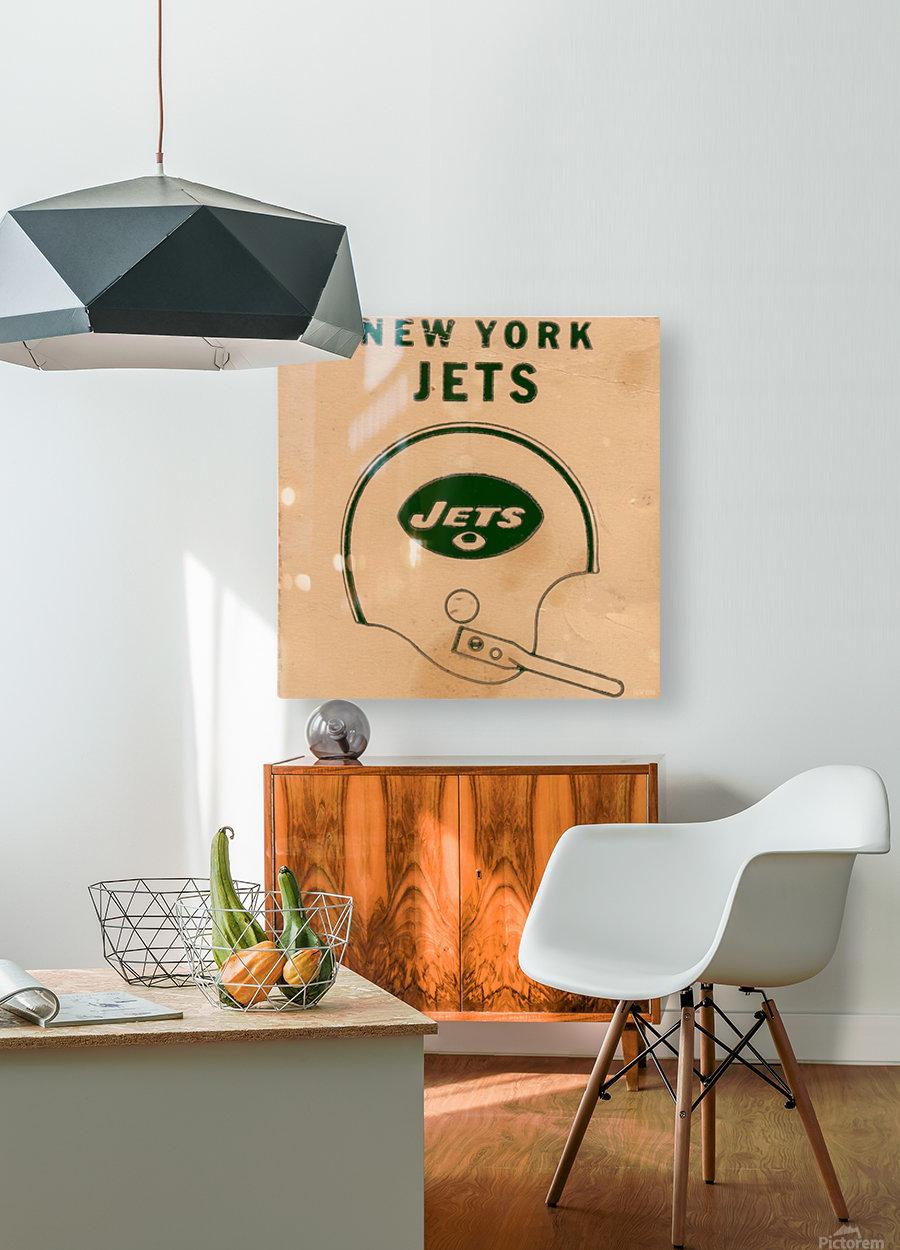 1971 New York Jets Vintage Helmet Art  HD Metal print with Floating Frame on Back