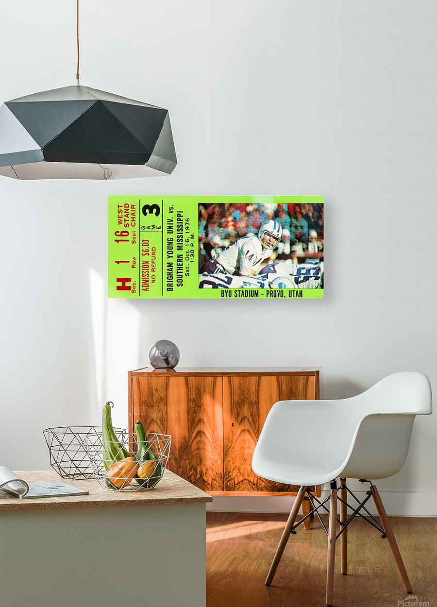 1976 BYU Cougars Ticket Stub  HD Metal print with Floating Frame on Back